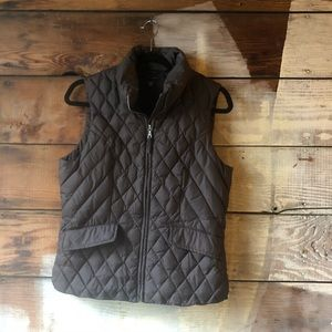 Tommy Hilfiger Brown Down-Stuffed Quilted Vest Med